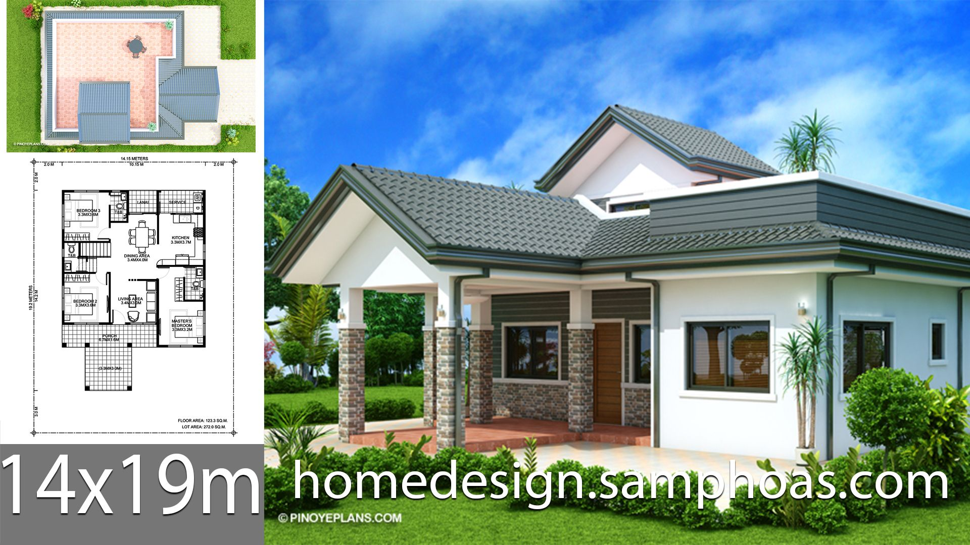 House Design Plans 14x19m With 3 Bedroom In 2020 Home Design Plans Small House Design Plans House Design