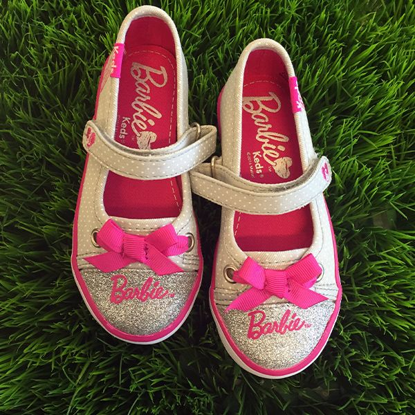 Hey girl hey.  Keds gets Barbie's style makeover complete with bows on the toes. Sparkle and polka dots too? But of course. #Barbie takes sneakers seriously. Style 7736568 #Keds #kidsstyle