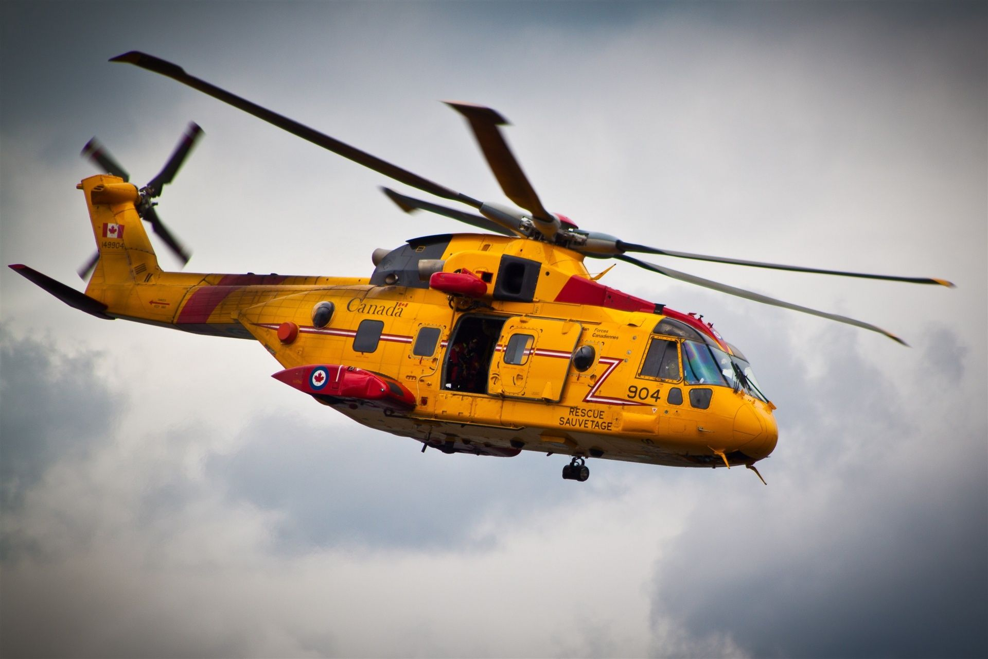 Canada, helicopter, flight, yellow, lifeguard