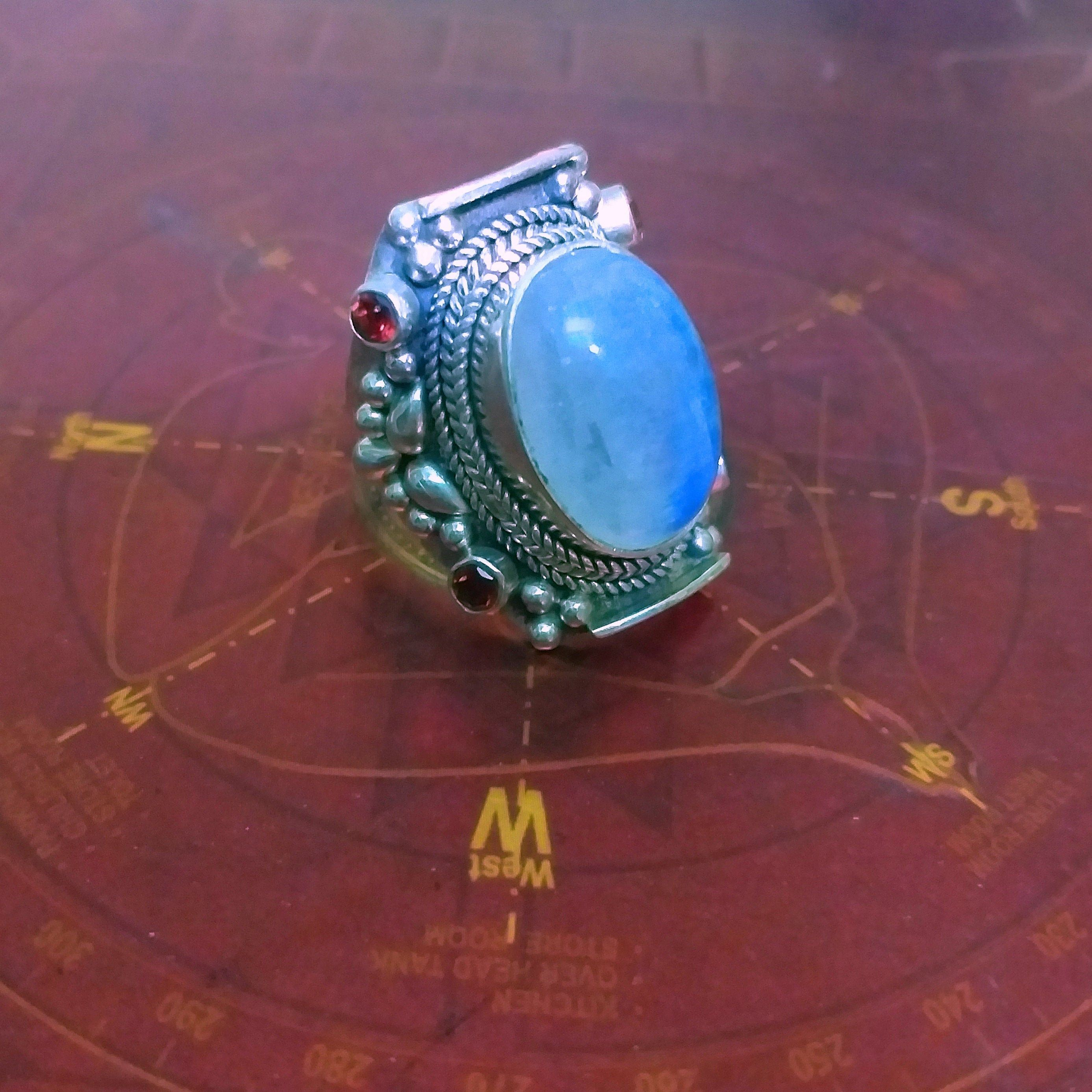 Boho Ring 925 Silver Ring Gift For Her Casual Ring Dainty Ring Natural blue flashy Moonstone Ring Moonstone Ring Round stone Ring