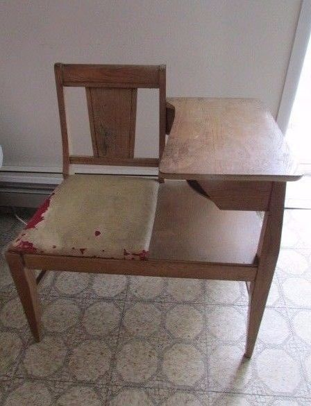 Antique Oak Wood Telephone Table Chair Gossip Chair #telephonechair  #gossipchair #antique #woodchair - Antique Oak Wood Telephone Table Chair Gossip Chair #telephonechair