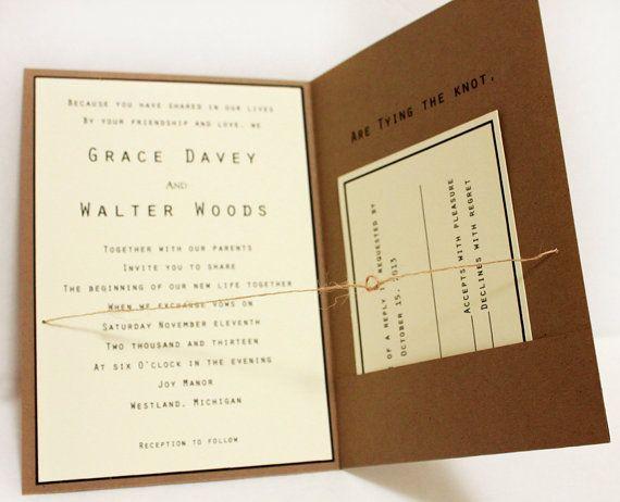 Items Similar To Tying The Knot Wedding Invitation 5x7 Rustic Pocketfold Kraft On Etsy