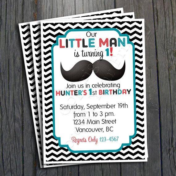 Little Man Birthday Invitation $15.00   #littlemanparty #littlemaninvite oh perfect... Already personalized