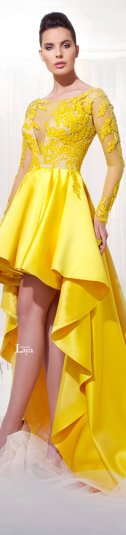 Tarek Sinno S S 2014 Couture Yellow Fashion High Low Evening Dresses Evening Dresses