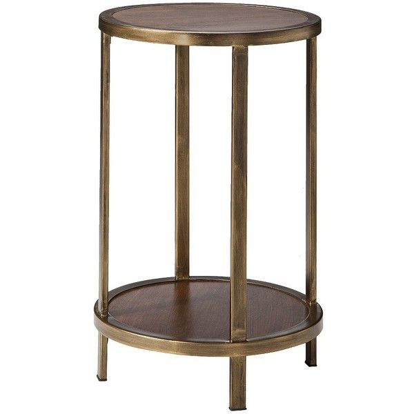 Threshold Wood And Brass Round Accent Table With Shelf ($56) Found On  Polyvore Featuring