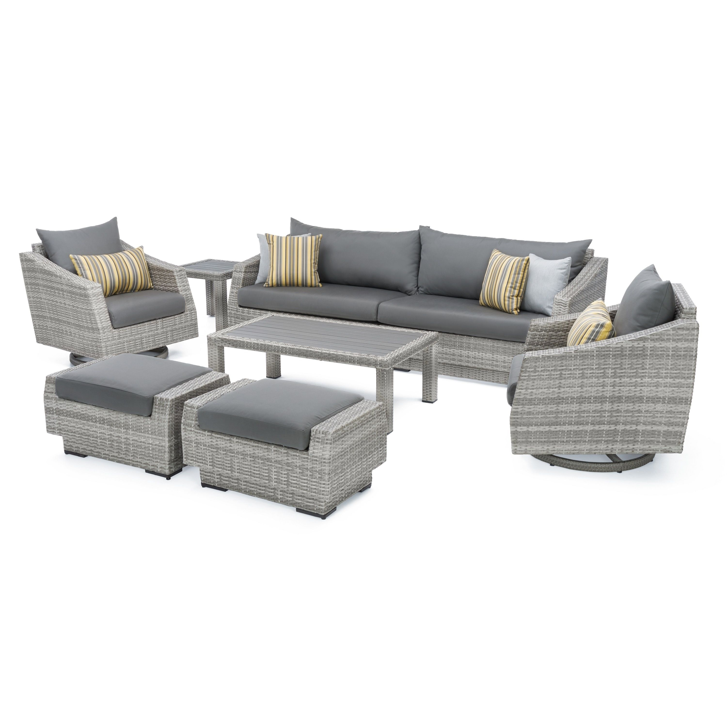 Cannes Deluxe 8pc Sofa & Club Chair Set In Charcoal Gray