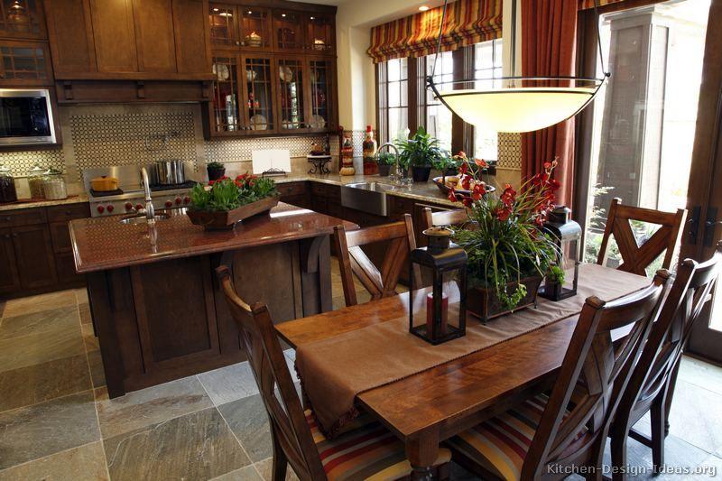 Traditional Dark Woodgolden Kitchen Cabinets #16 Kitchendesign Extraordinary Dark Kitchens Designs Inspiration Design