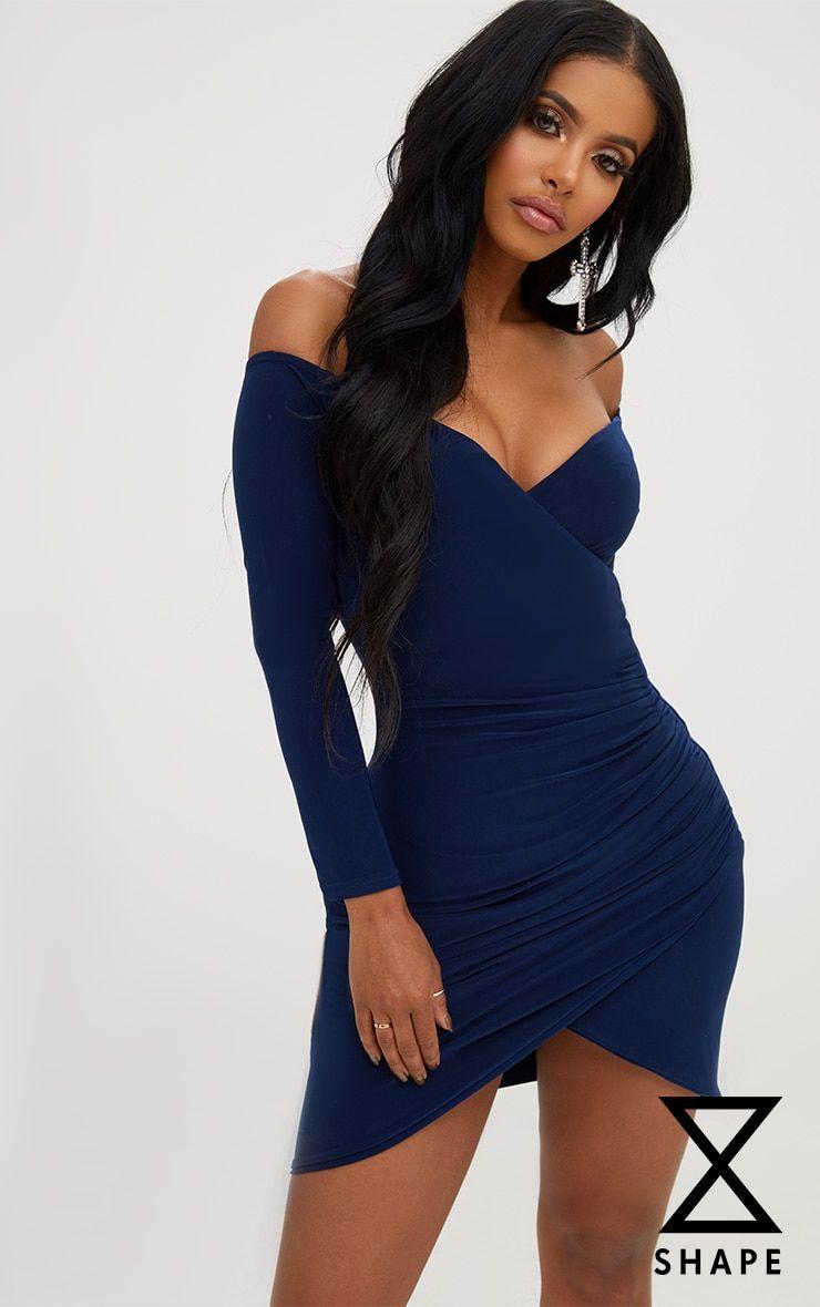 481775b3f64e Shape Navy Ruched Bardot Bodycon Dress. PLT Shape | PrettyLittleThing USA