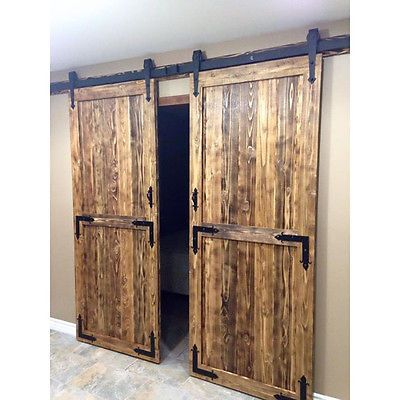 10 Ft Arrow Style Double Wood Interior Sliding Barn Door Hardware Track Kit Set Double Sliding Barn Doors Old Barn Doors Barn Doors Sliding
