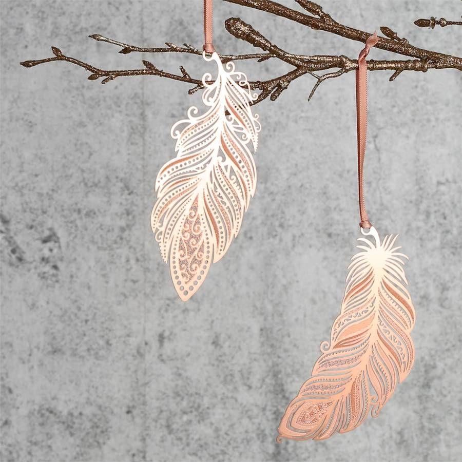 Copper Filigree Feather Hanging Decoration | Xmas | Pinterest ...