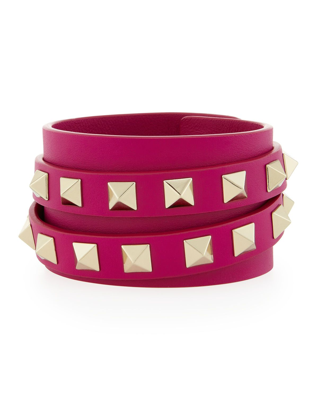 Multi-Wrap Rockstud Leather Bracelet