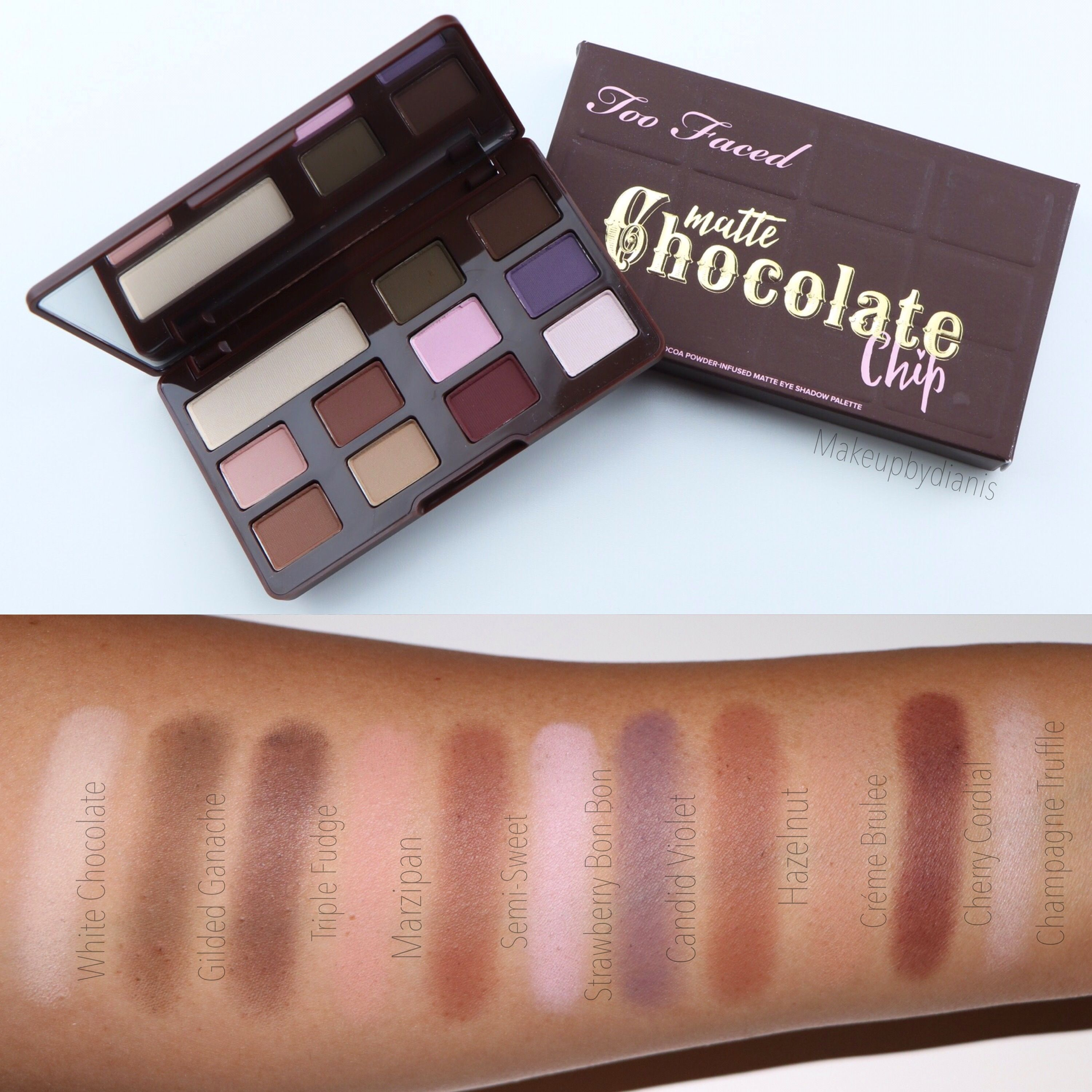 Swatches of the NEW @toofaced Chocolate Chip Palette Available 12 ...