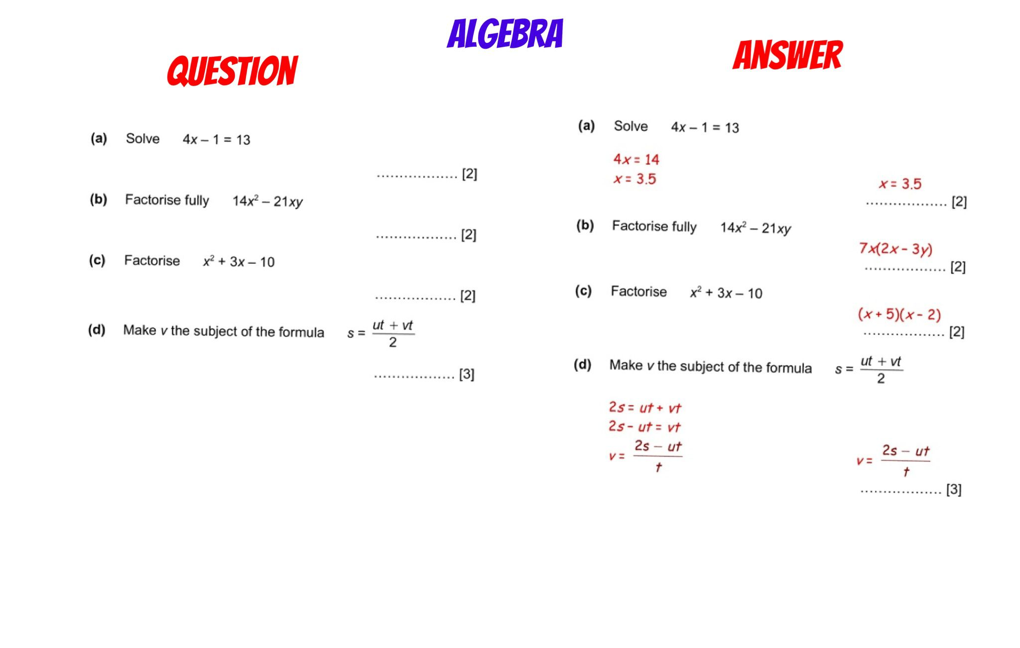 Gcse Revision Solving Rearranging Amp Factorising With