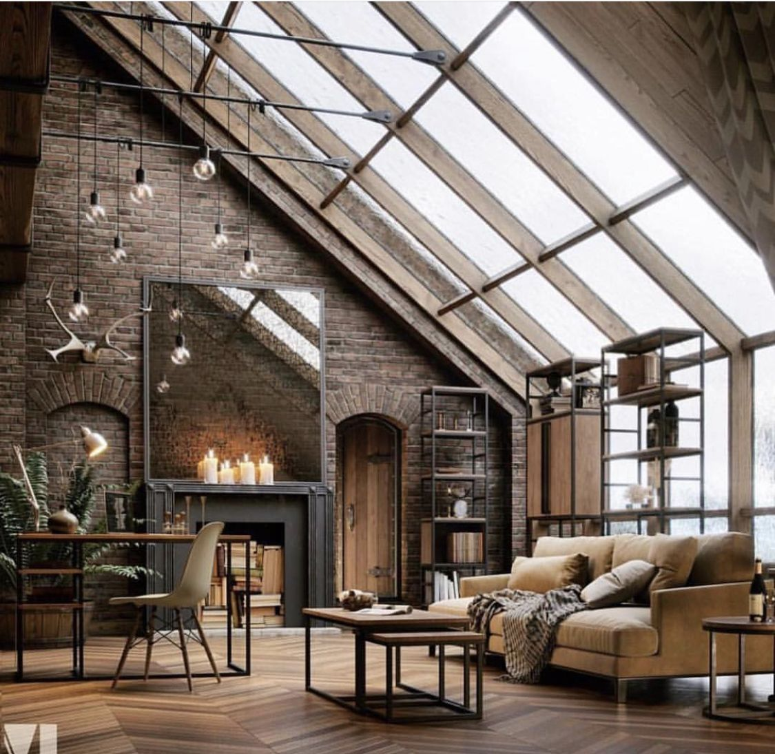 23 Elegant Living Room With Exposed Brick Wall: Fireplaces, Mirror Placement, Exposed Brick, Door Arches