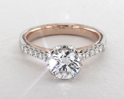 Platinum And Rose Gold Classic Engagement Ring By Verragio Moissanite Engagement Ring White Gold Classic Engagement Rings White Gold Sapphire Engagement Rings