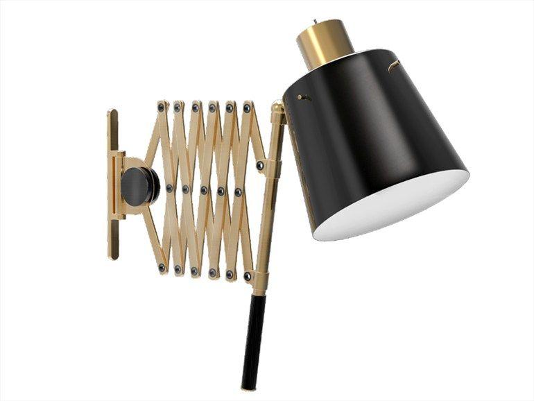 Lampada da parete orientabile in alluminio con braccio flessibile Collezione Pastorius by Delightfull
