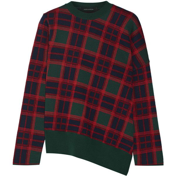 Cédric Charlier - Plaid Wool Sweater ($358) ❤ liked on Polyvore featuring  tops,