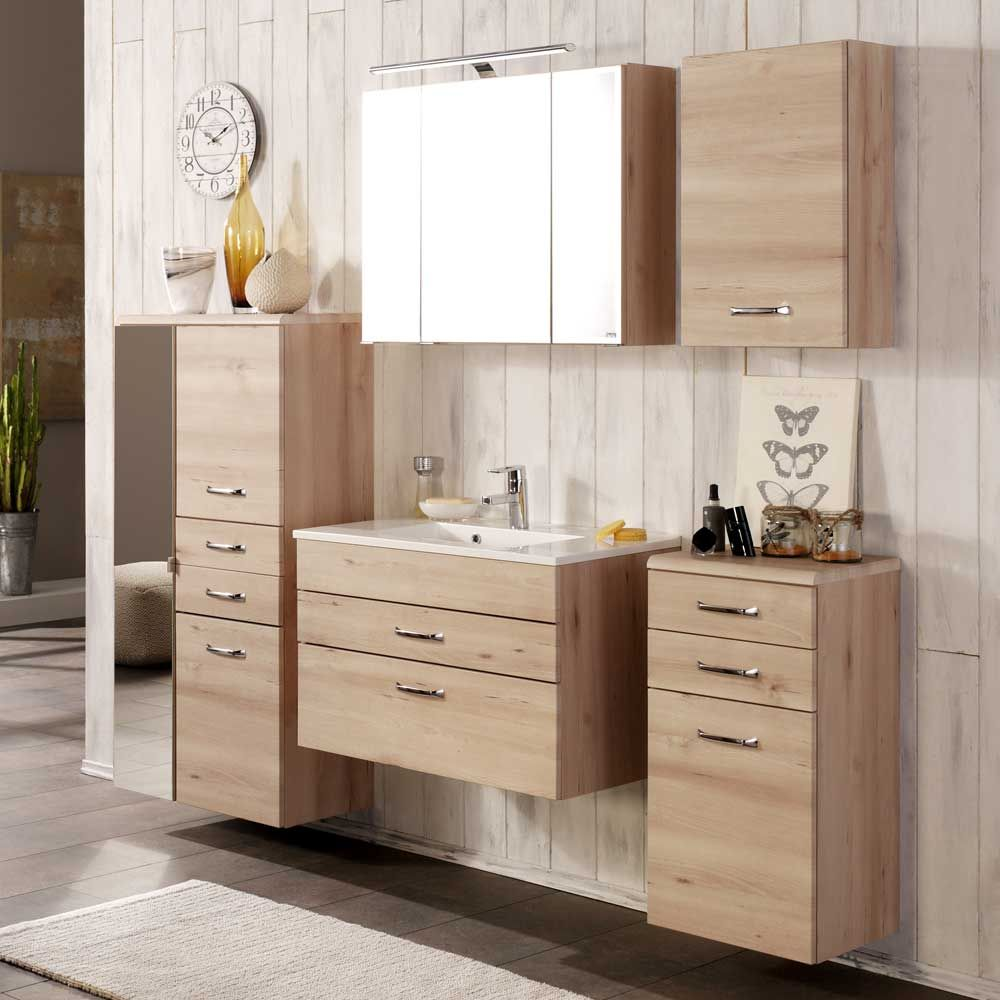badezimmerm bel set mit 3d spiegelschrank buche hell 5. Black Bedroom Furniture Sets. Home Design Ideas