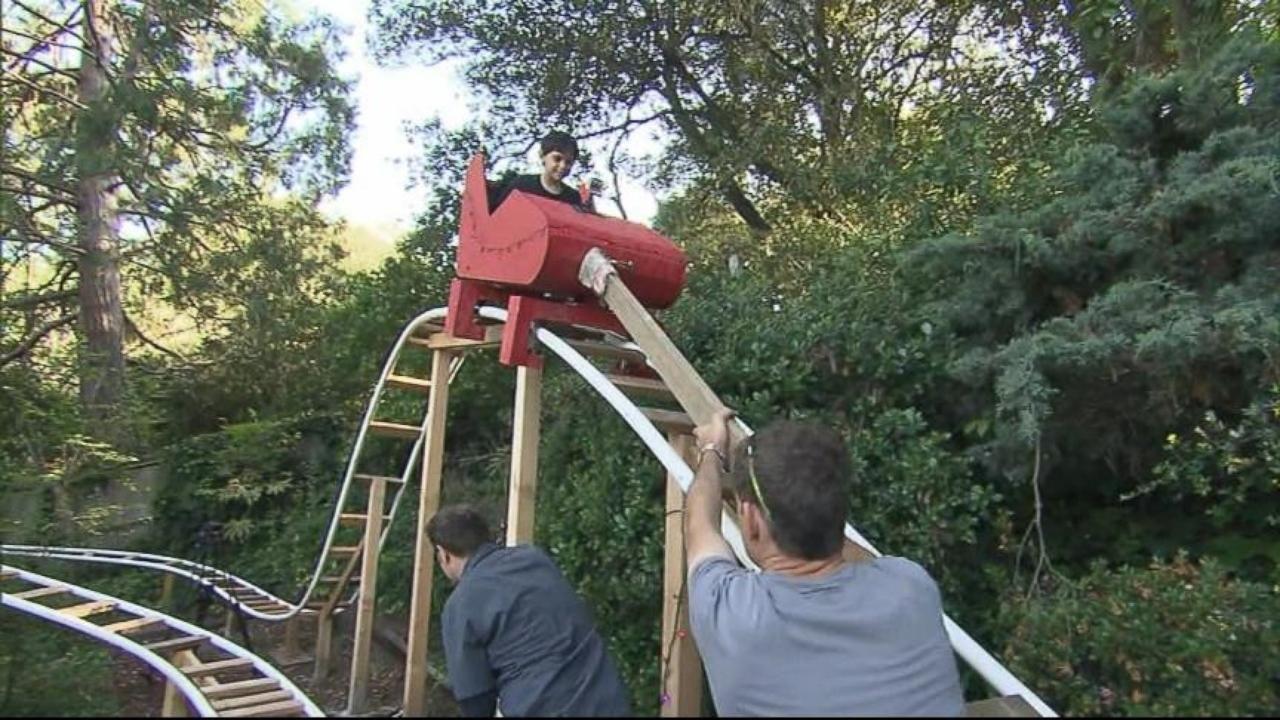 Dad Builds Roller Coaster in Backyard | Kids indoor ...