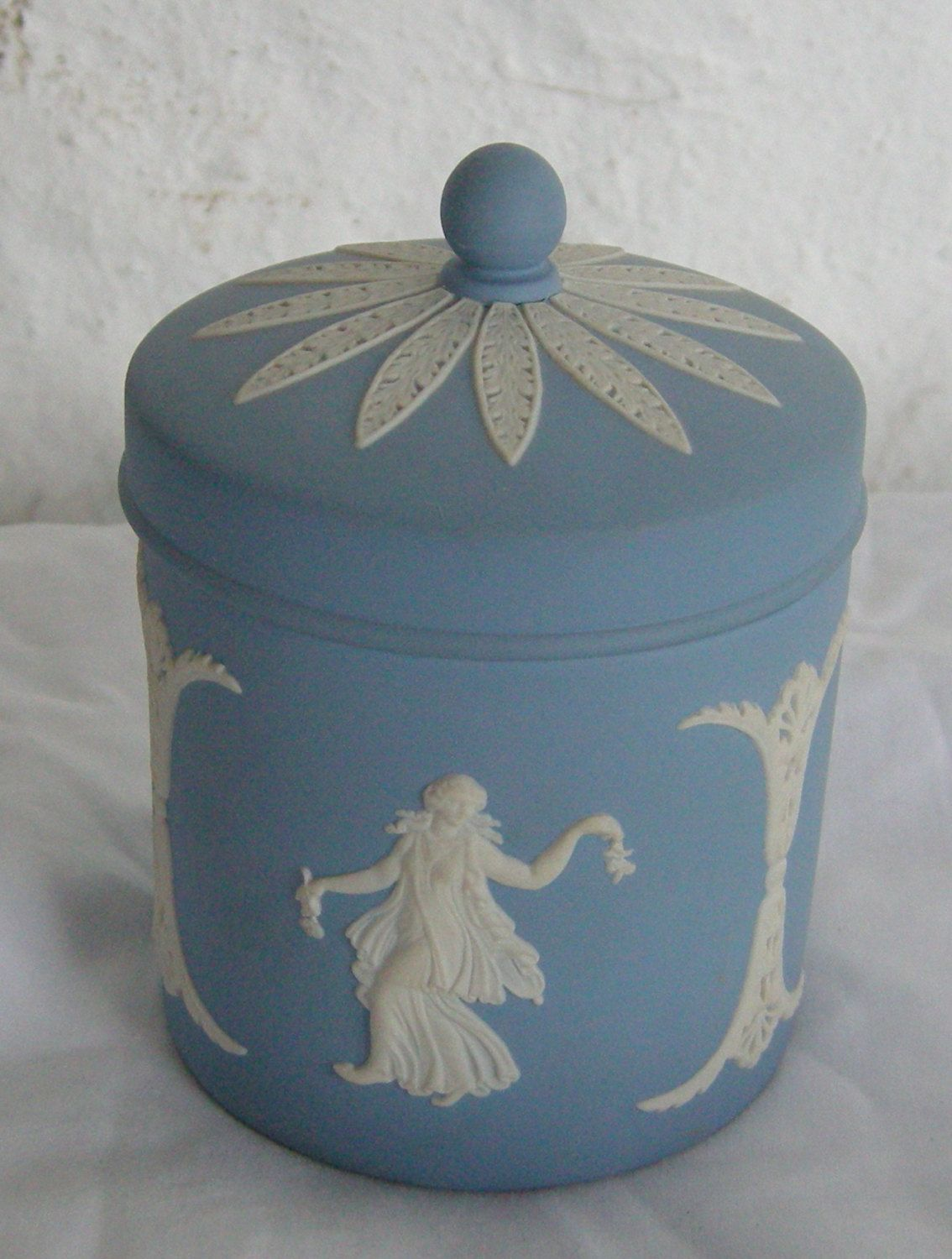 Wedgwood Blue Jasperware Tea Caddy by buyadalia on Etsy