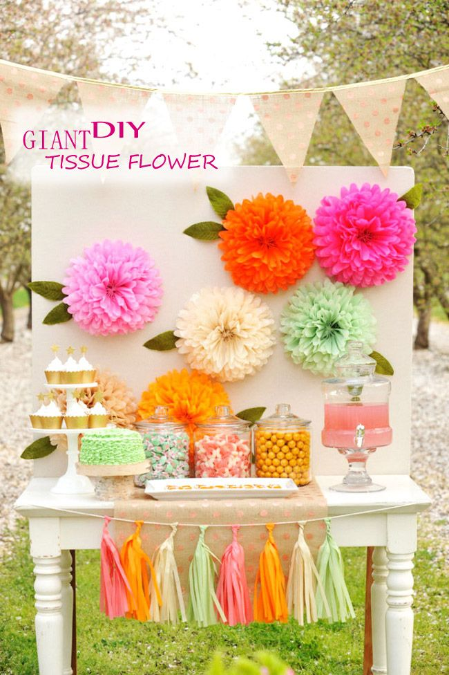 Diy Giant Tissue Flower Cheap Unique Holiday Craft For Kid Party