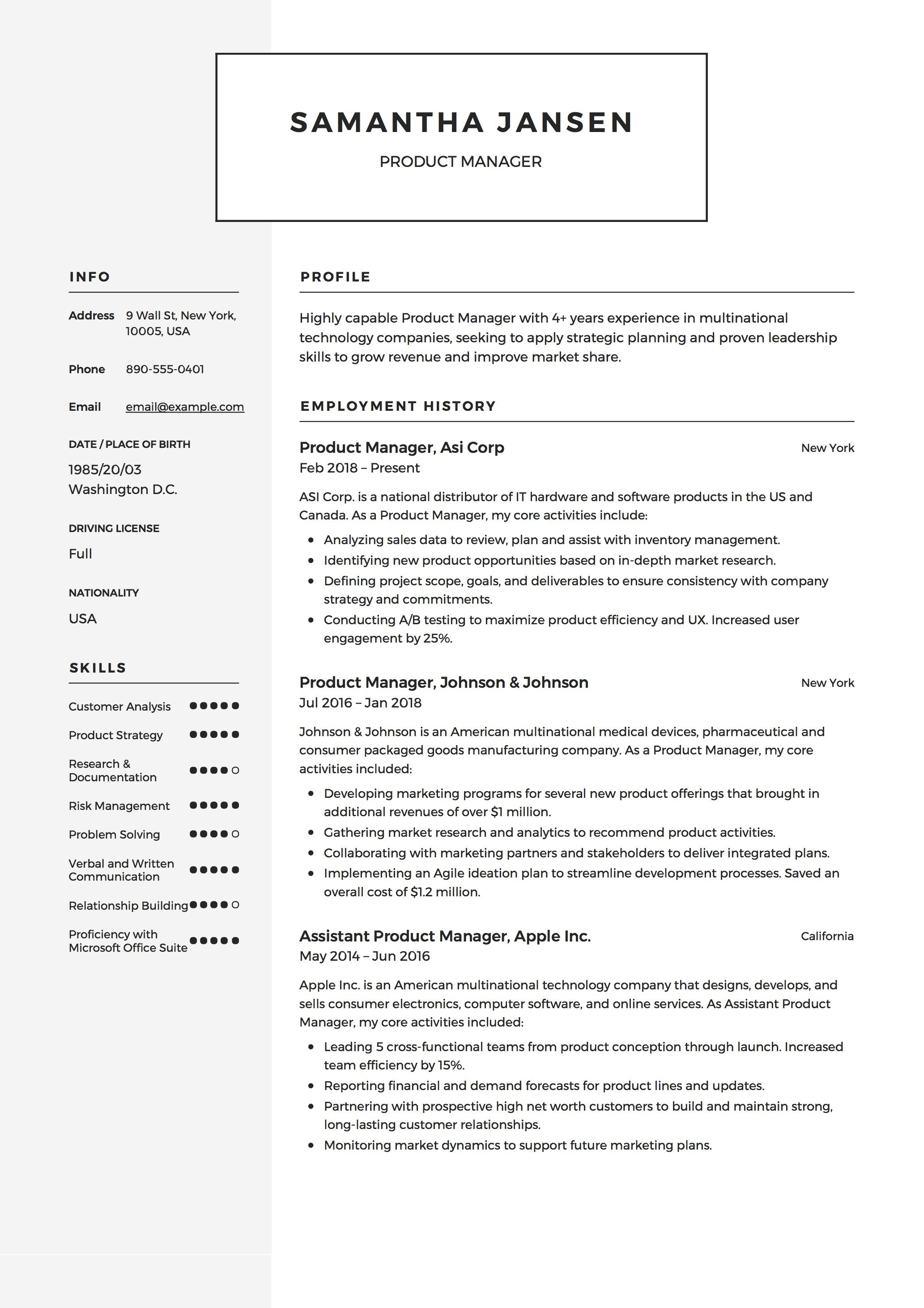 Product Manager Resume Sample Template Example Cv Formal Design Manager Resume Resume Examples Resume Pdf