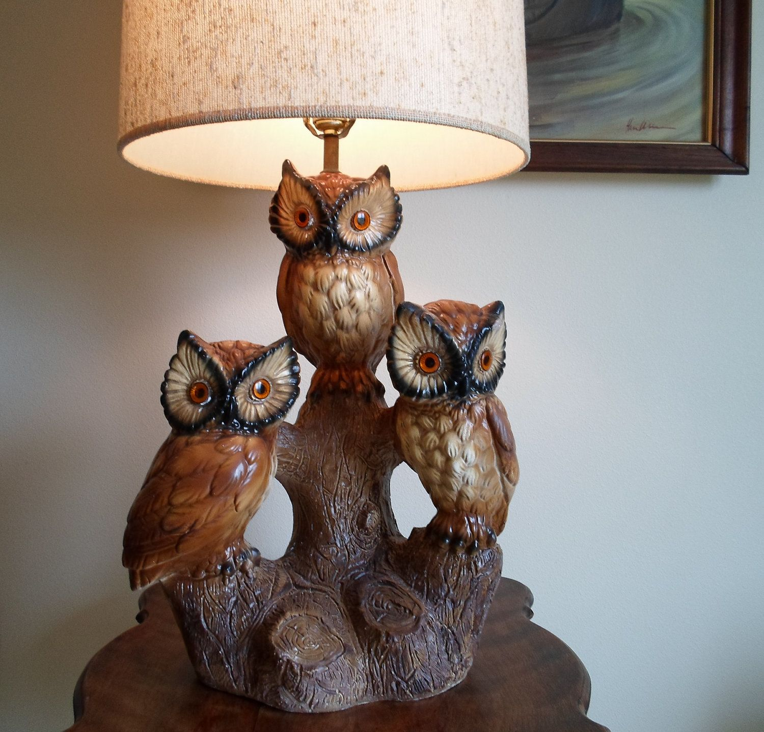 Good Vintage Owl Table Lamp With Shade Very Retro Three Owls On An Old Stump.