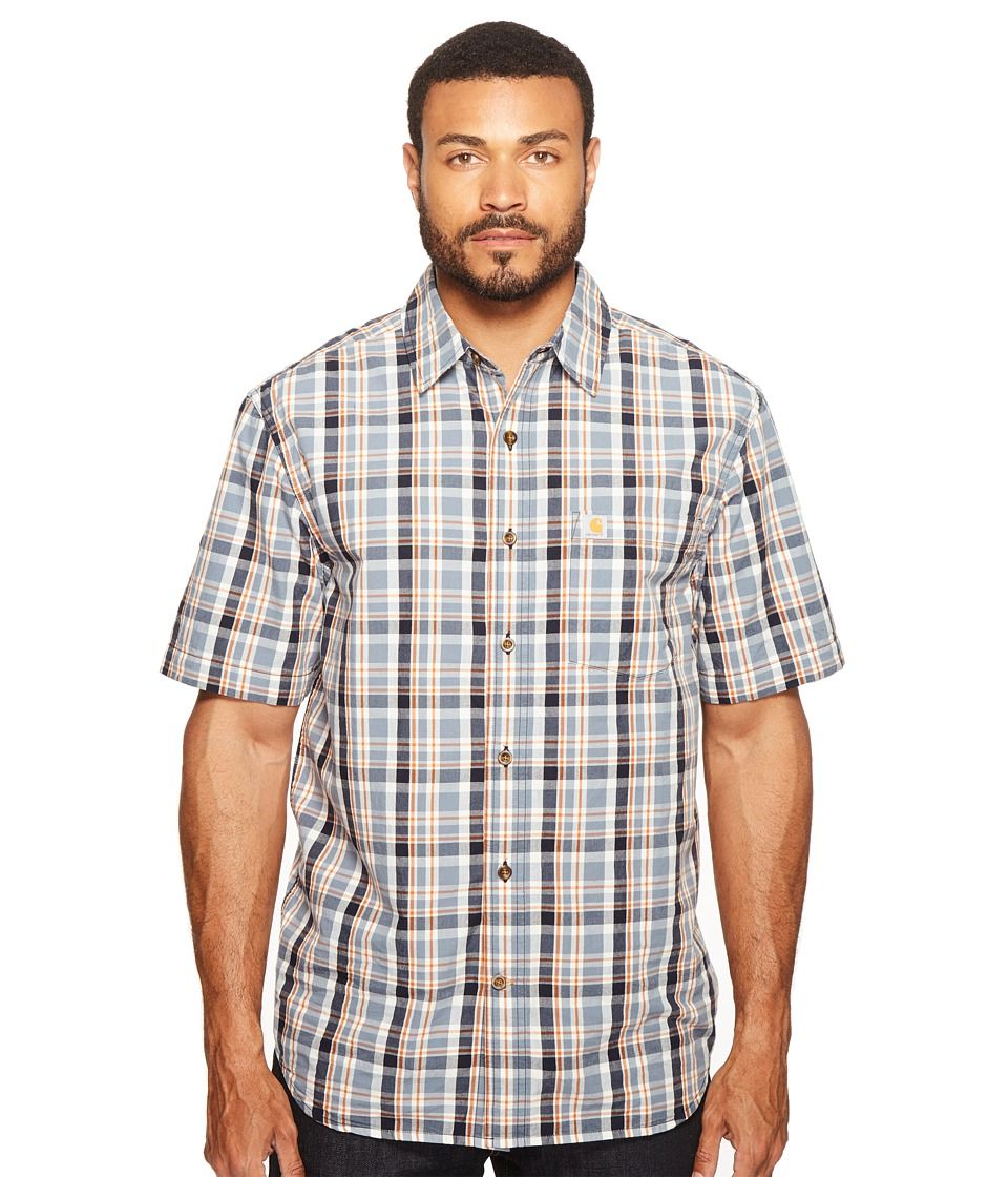 Blue flannel outfits for guys  Carhartt  Essential Plaid Open Collar Short Sleeve Shirt Steel