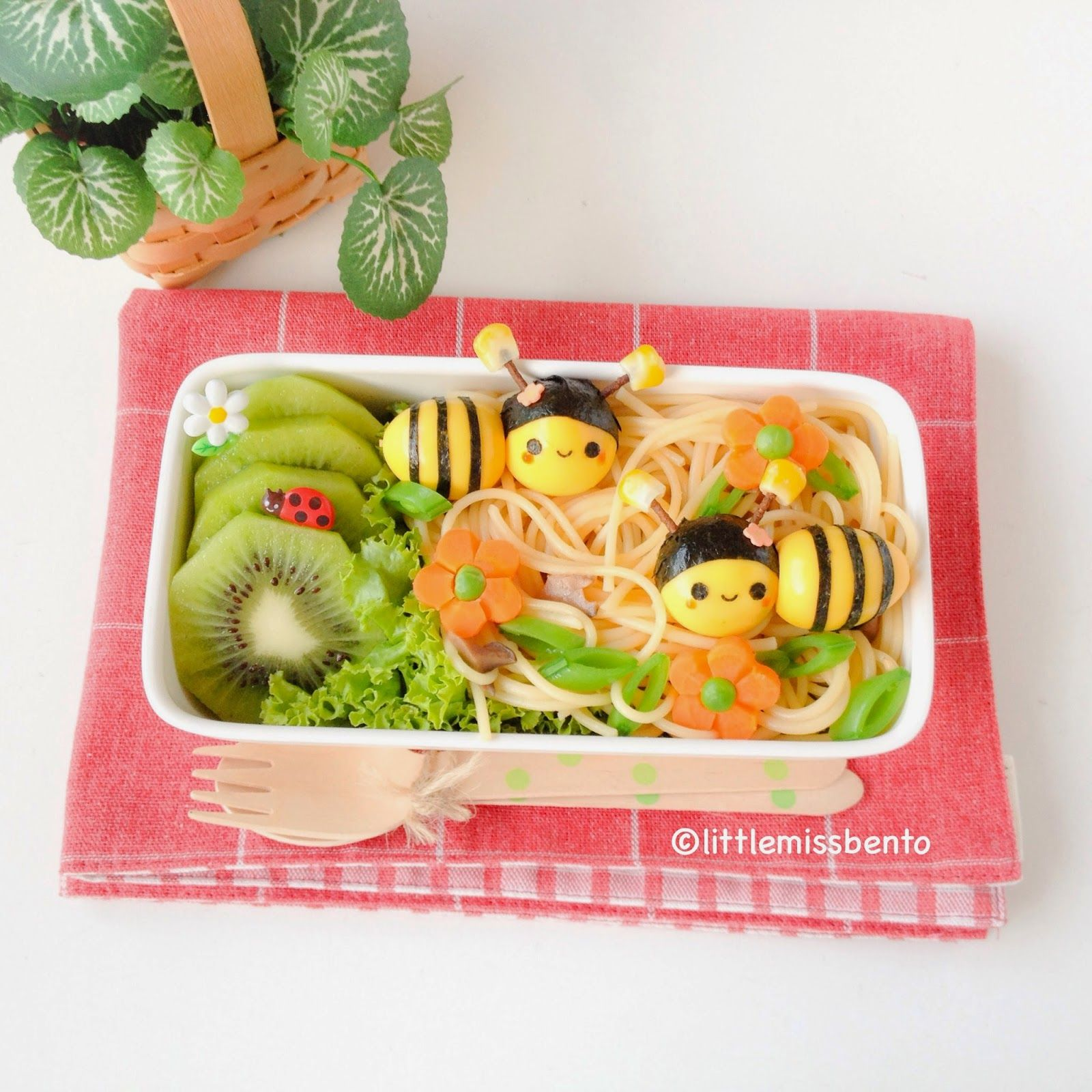 Bumblebee quail egg bento by Little Miss Bento