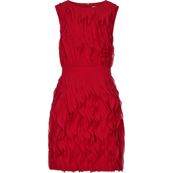Jasmine CHERRY RED RUFFLE-DETAIL DRESS (8188650 BYR) ❤ liked on Polyvore featuring dresses, ruffle dress, red dress, flutter dress, frilly dress and flouncy dress