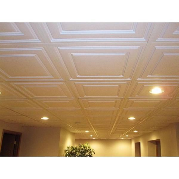 Ceilume Stratford White Feather Light 2 Ft X 2 Ft Lay In Ceiling Panel Case Of 10 Hd Stratf 22wto The Home Depot Ceiling Tiles Basement Drop Ceiling Basement Dropped Ceiling