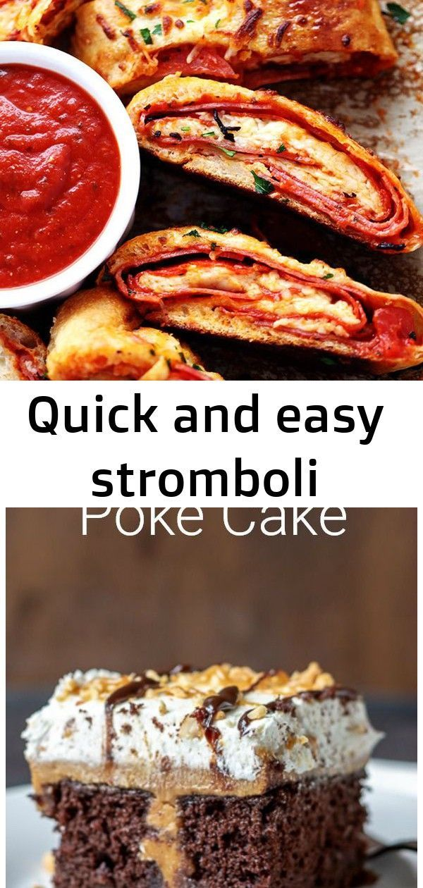 """Quick and easy stromboli #chocolatepeanutbutterpokecake Quick and Easy Stromboligets loaded with italian salami, pepperoni, pizza sauce and cheese! This is so quick, easy and delicious you will want to make it again and again!! Do you ever make something and wonder why you haven't made it before? This my friends is """"that recipe"""". Holy cow. We have been missing out!! … Calling all you chocolate peanut butter fans. This poke cake is easy decadent and feeds a crowd. #partyfood #dess #chocolatepeanutbutterpokecake"""
