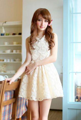 Noble Sleeveless Lace Crochet A Line Dress White Casual Dresses  -  stylishplus.com
