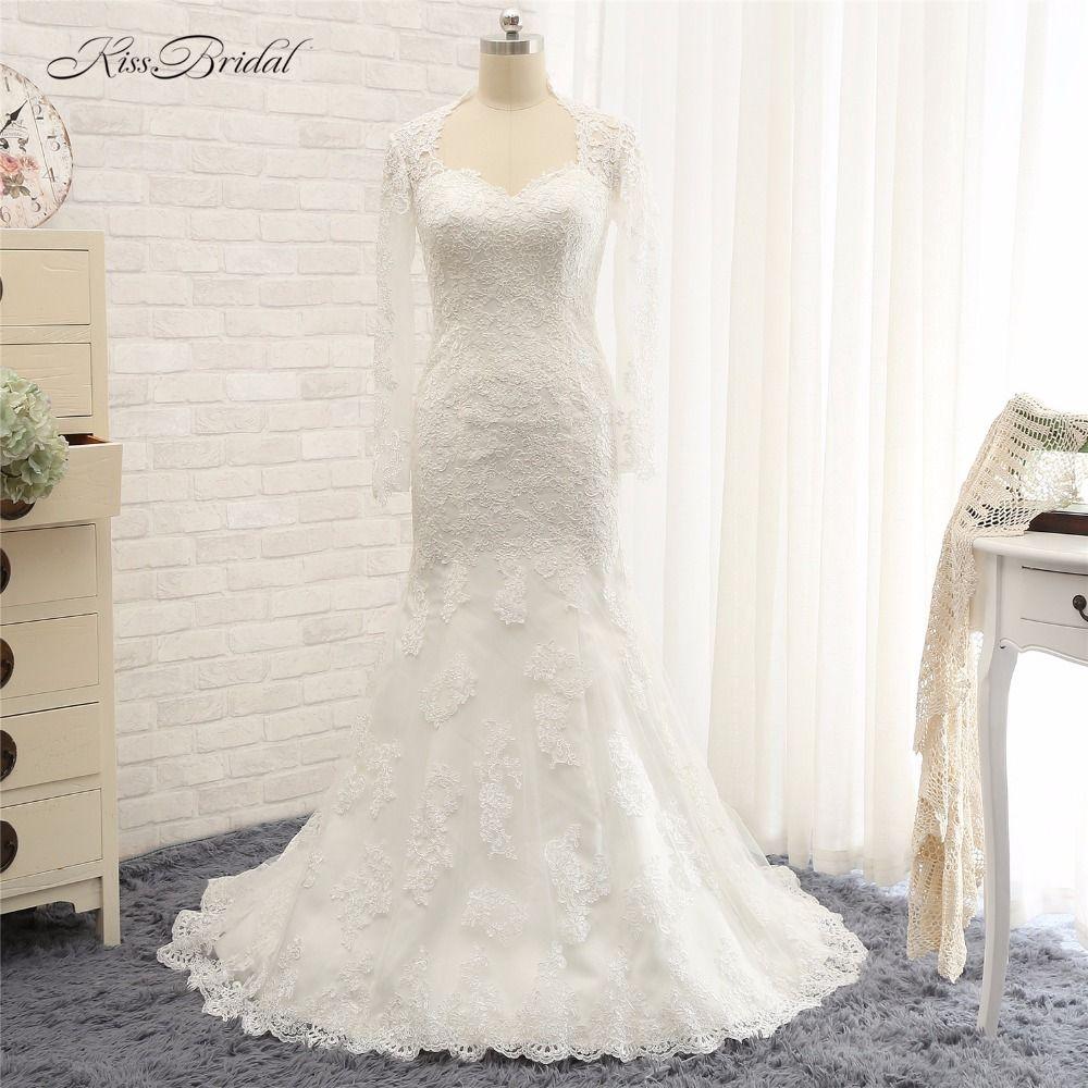 Vestido de Noiva 2017 Wedding Dresses Mermaid Lace Long Sleeve Bridal Gown Robe de Mariee