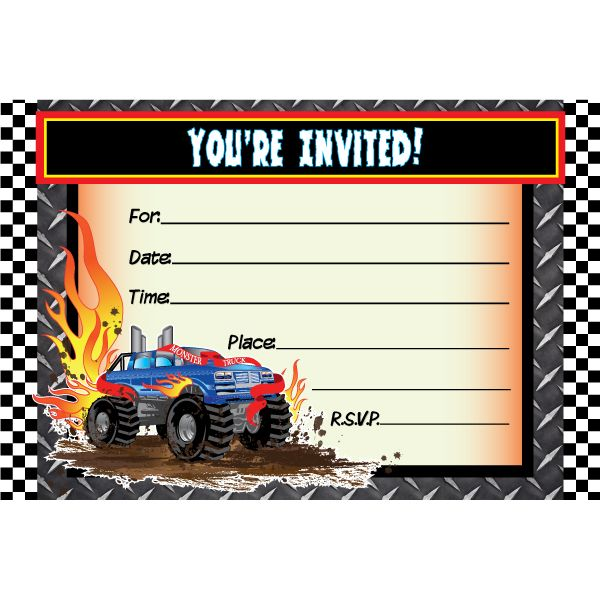 Dynamic image in monster truck birthday invitations free printable