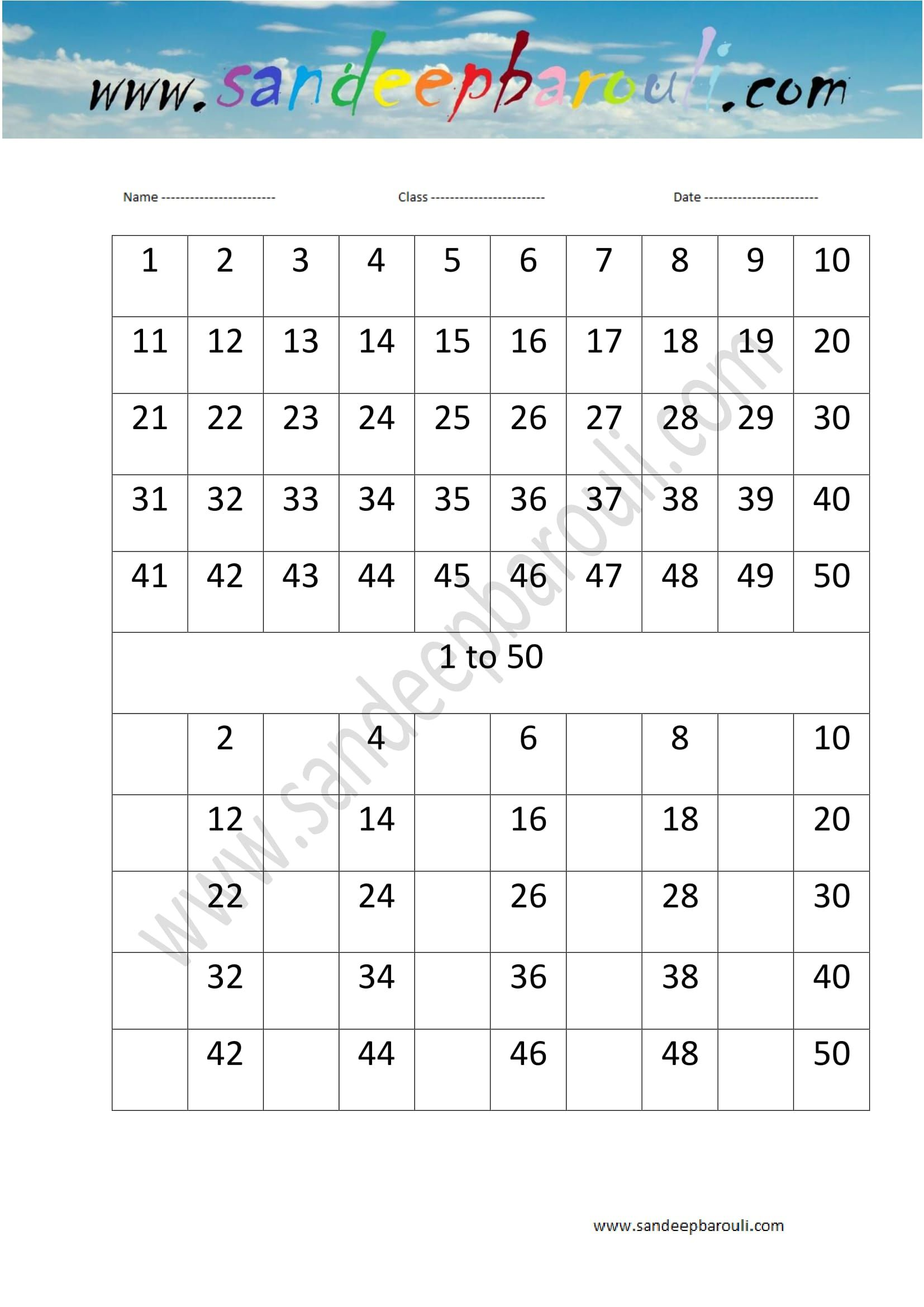 1 To 50 Counting Missing Numbers Worksheet 15