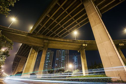 Elevated highways in Pudong's suburbs
