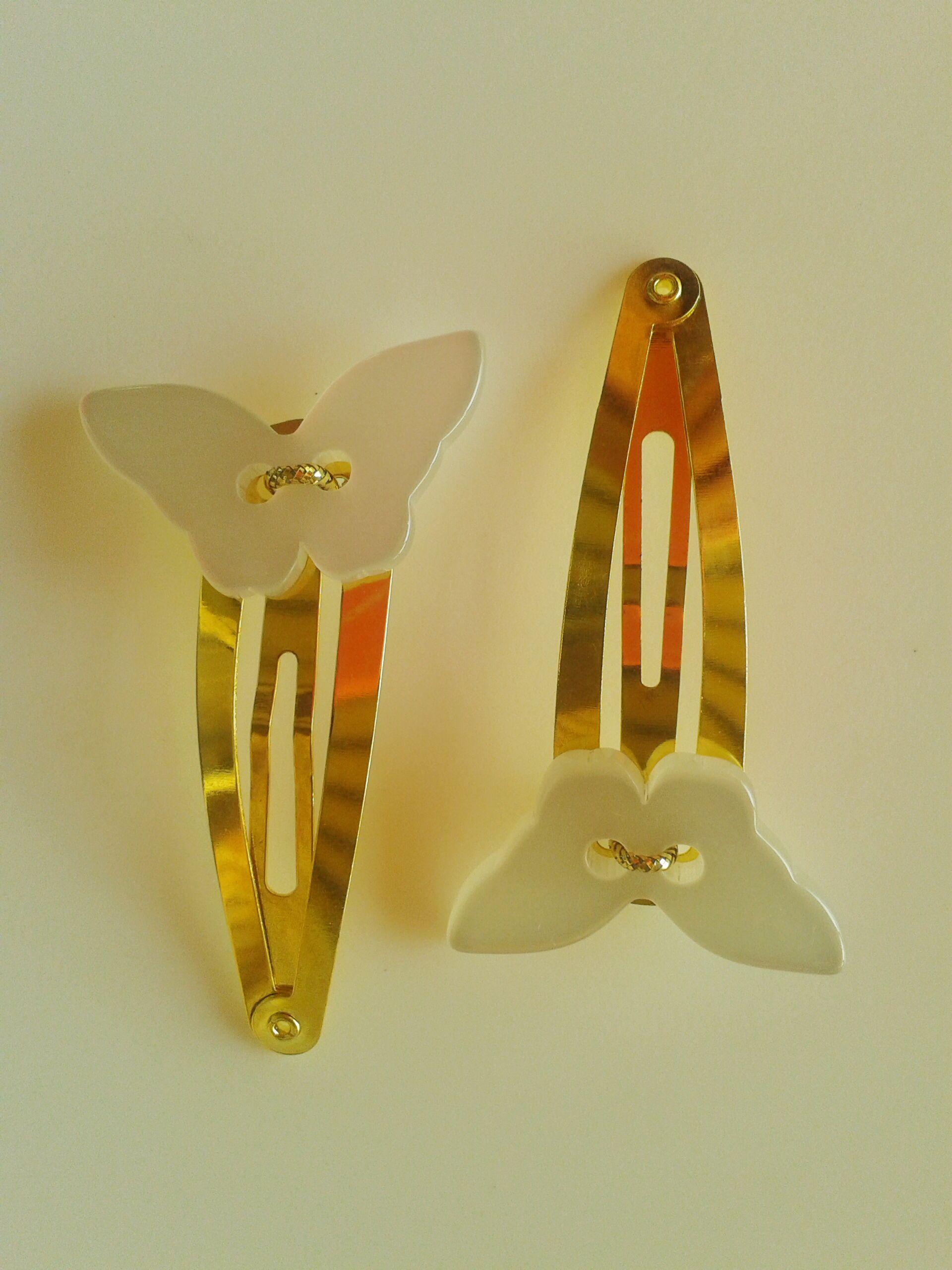 Horquillas mariposas de nácar