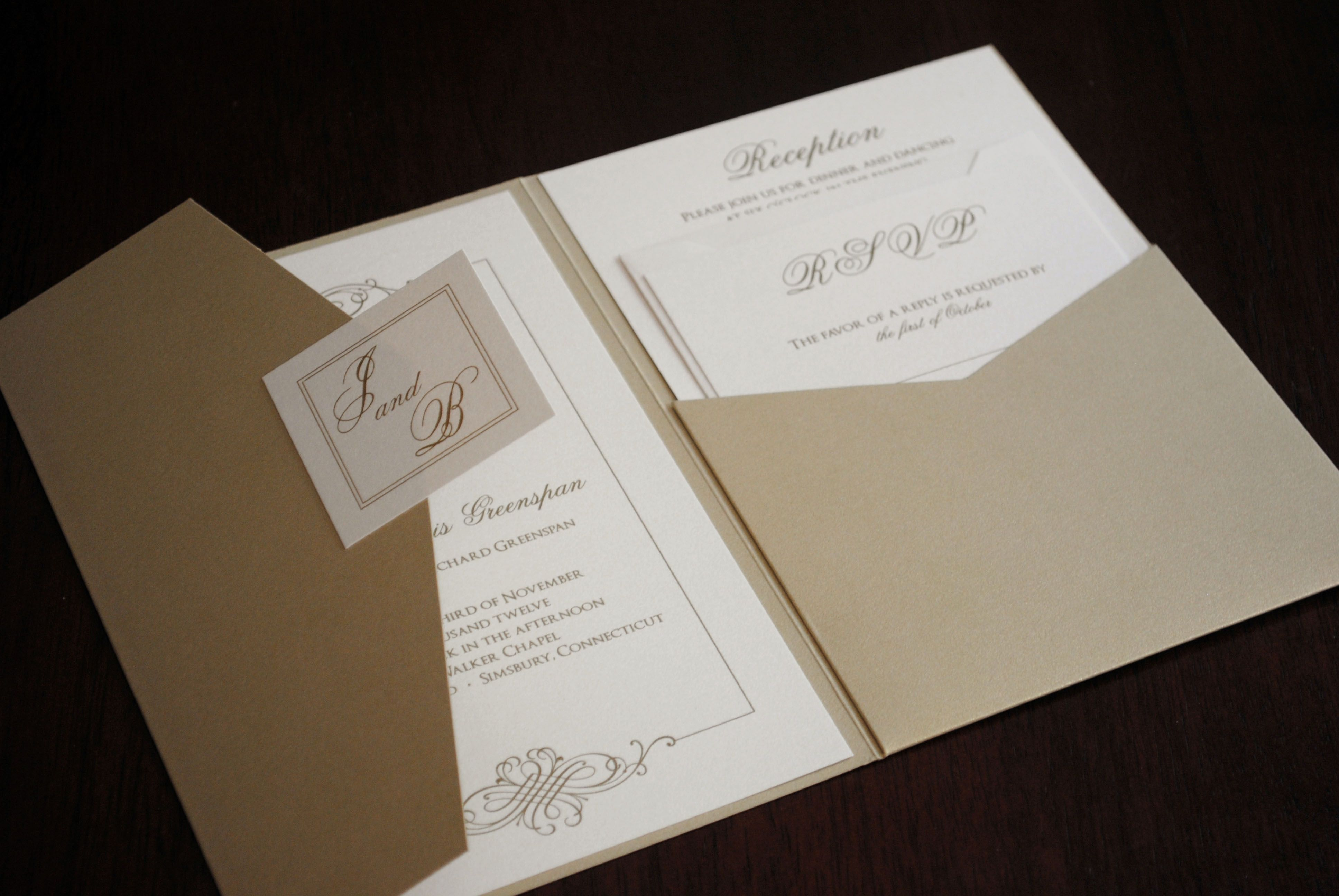 Gold Thermography Pocketfold Wedding Invitation By InterPRINTations