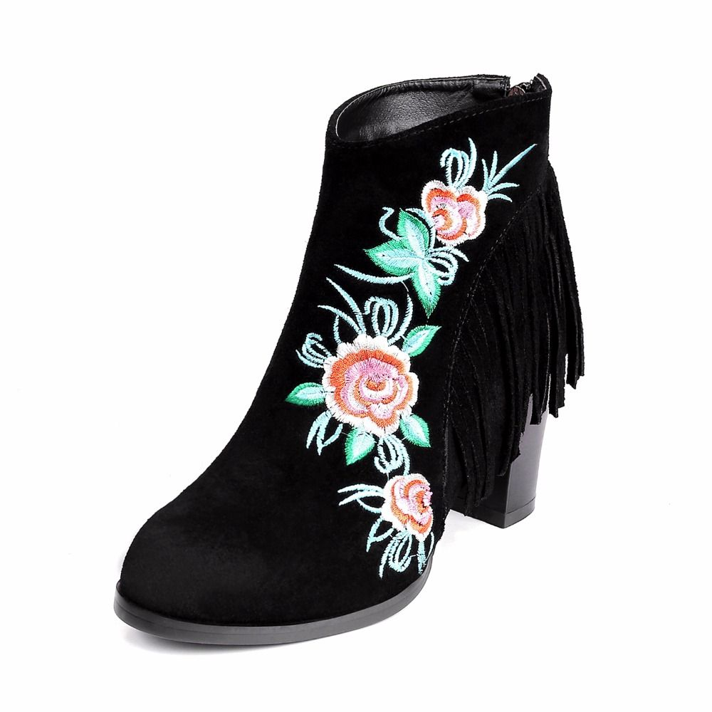 Women Winter Full Grain Leather Flock Embroidery Flowers Ankle Boots Genuine Leather  Traditional National Style Snow Boots
