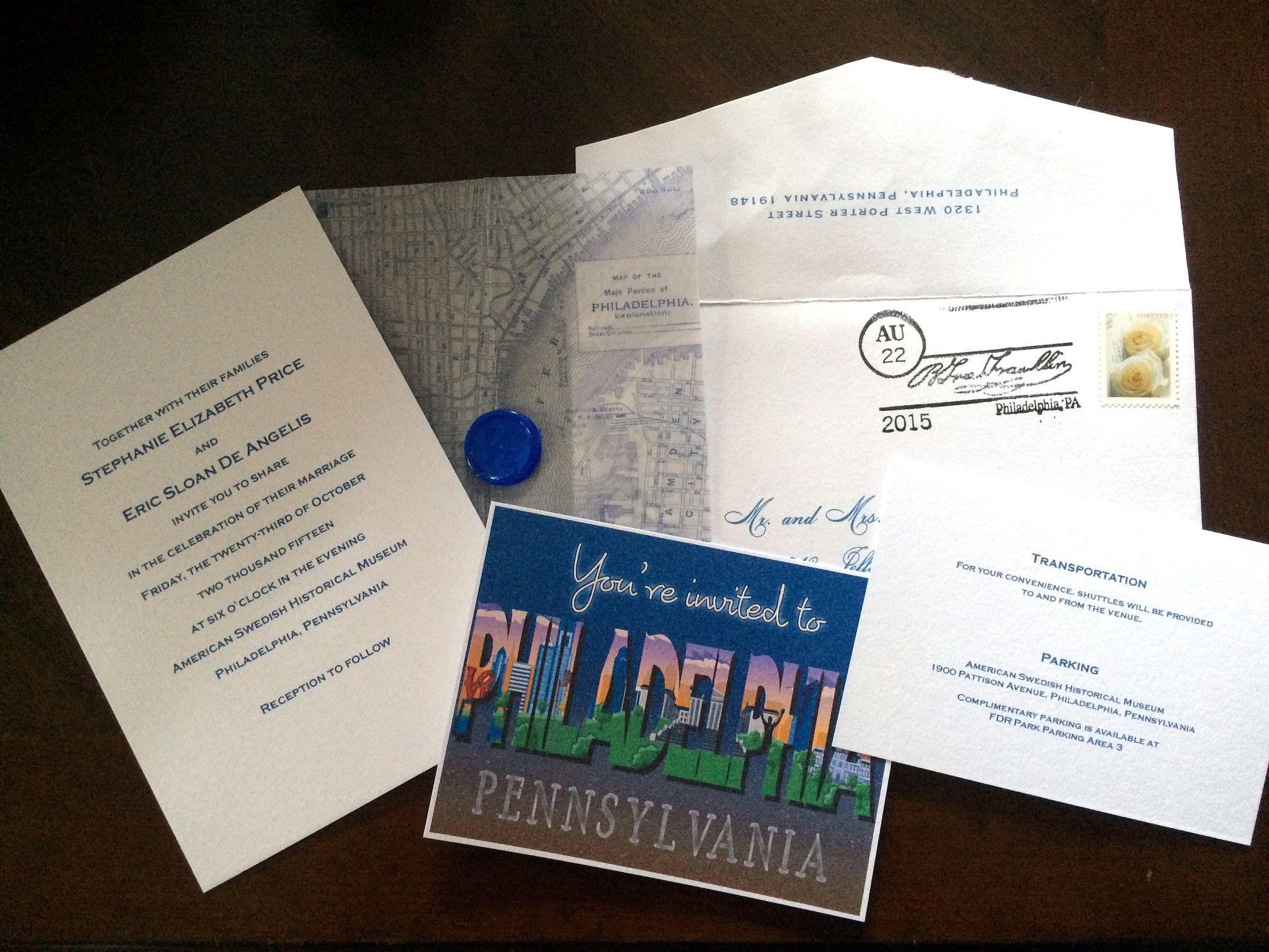 Philadelphia wedding invitation set maddie and marry graphic