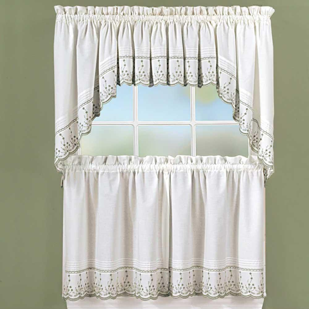 Bed bath and beyond window shades  abby embroidered tier valance and swag  products  pinterest