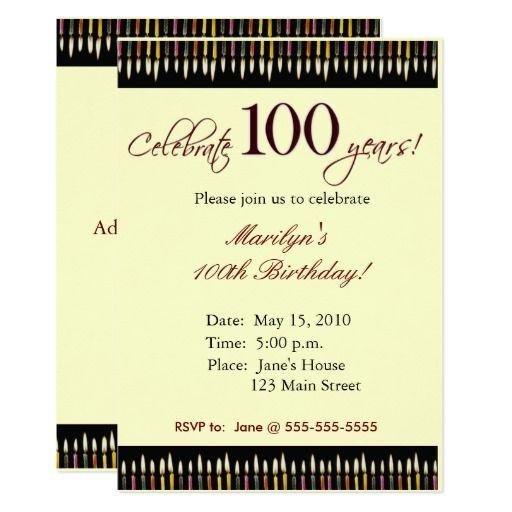 100 Year Old Birthday Party Invitation Zazzle Com In 2021 Birthday Party Invitations Printable Birthday Invitations 100th Birthday Party