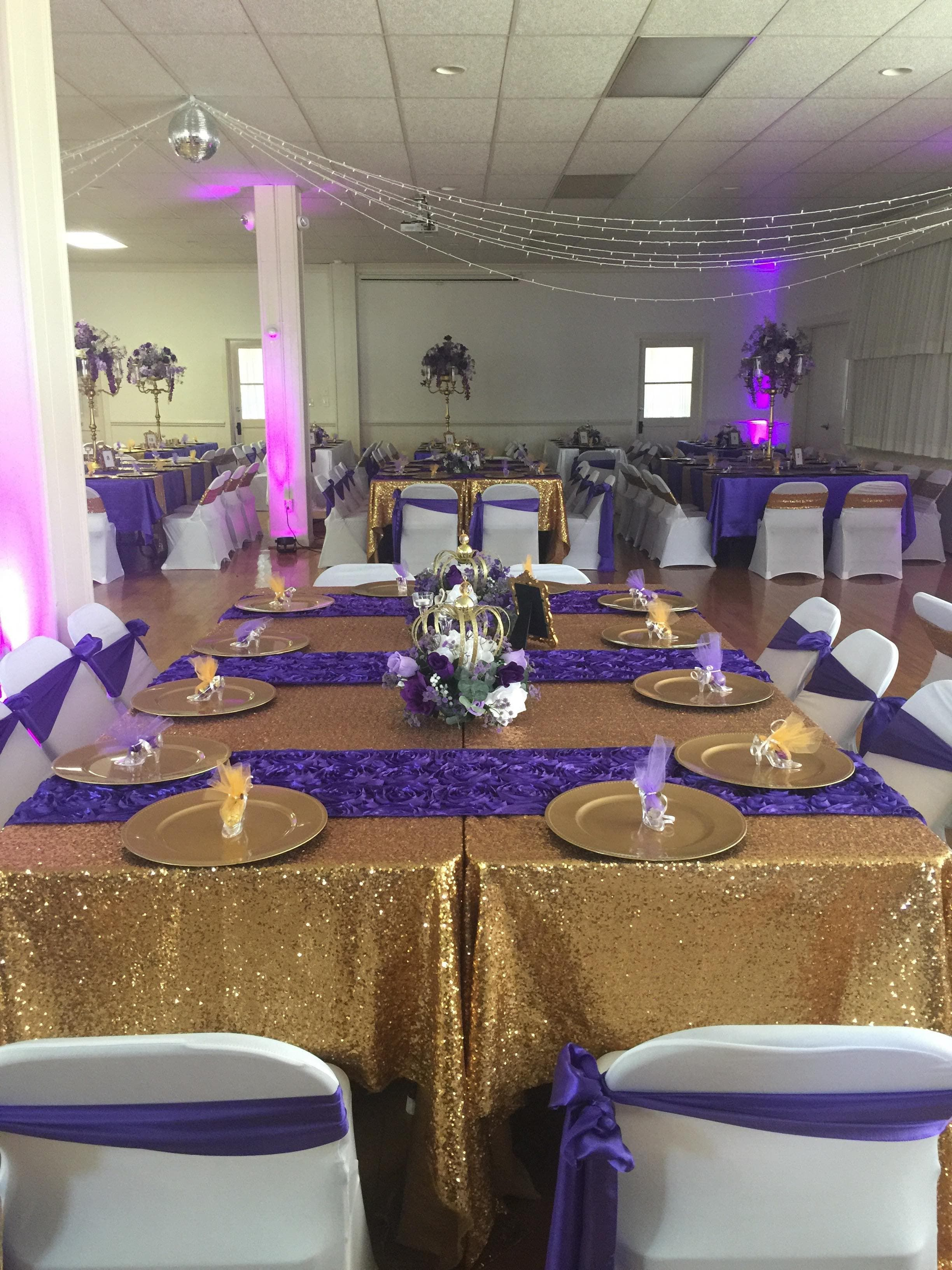 Royal Wedding Purple Gold Estate Style Table Crown Centerpiece