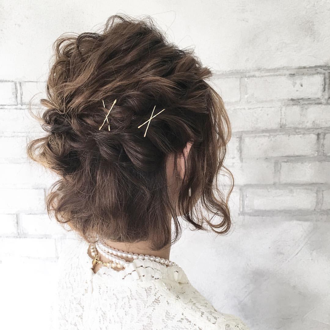 ヘアスタイル おしゃれまとめの人気アイデア Pinterest Haruka Kouzuki ショートボブ 結婚式 結婚式 お呼ばれ 髪型 ボブ ヘアアレンジ 結婚式