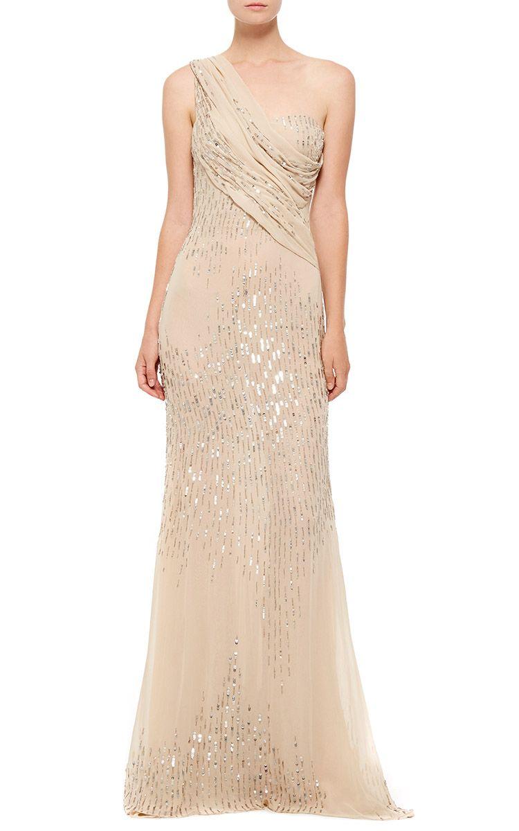 Cristina Ottaviano Sequin Chiffon Gown - Preorder now on Moda Operandi