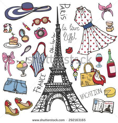 8c3bc2a47cc7 Fashion illustration.Paris France Eiffel tower.Women summer dress ...