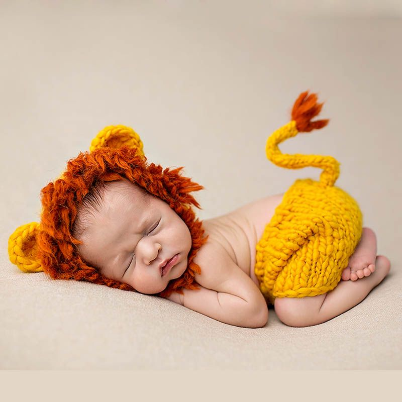 Newborn Mane Lion Outfits Photo Prop Handmade Knitted Clothing Set Giraffe Woolen Beanie Costume Baby Hat Photography Caps Pants
