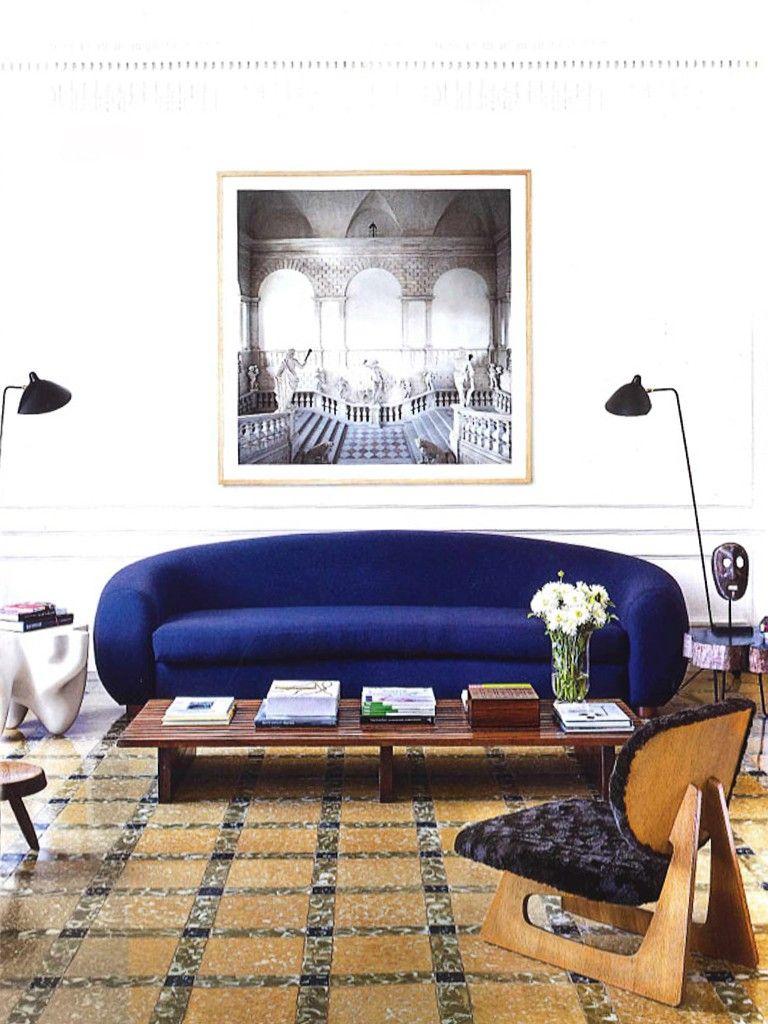 Sofá Azul Em Living Moderno