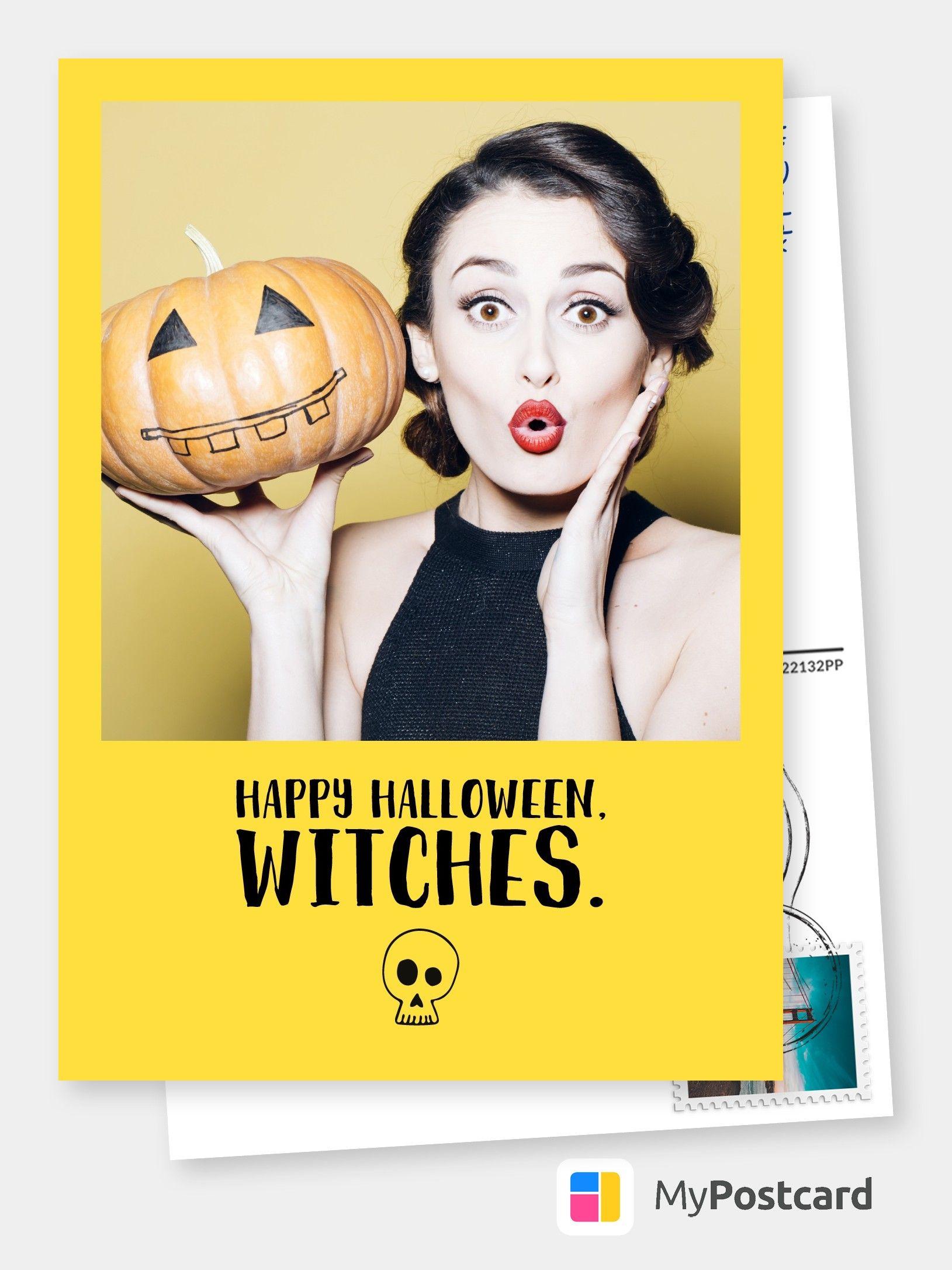 Halloween Karte - Halloween Bilder / Halloween Grüße / Halloween Design / Halloween Geschenke #happyhalloweenschriftzug